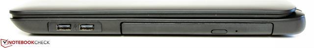 Cạnh phải có hai cổng USB 2.0 và ổ ghi Blu-ray