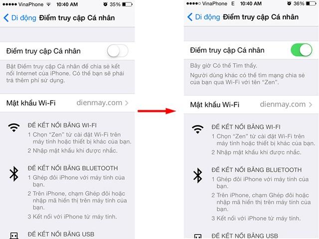 Bật Wifi Hotspot trên iOS