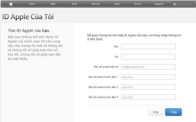Nhập thông tin cần thiết để lấy lại ID Apple