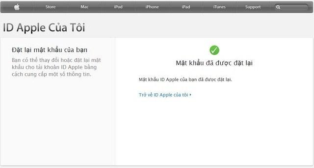 Và bạn đã lấy lại được mật khẩu ID Apple