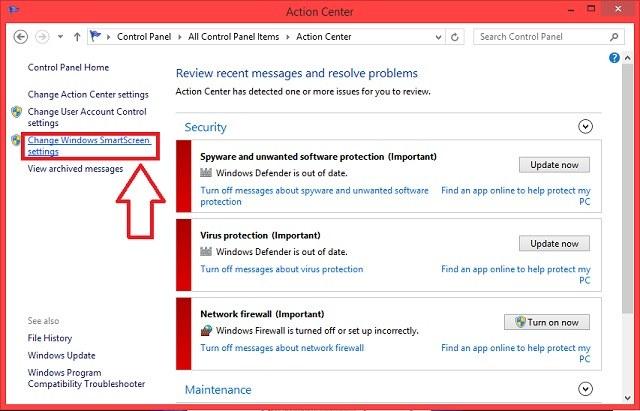 how to turn off smartscreen windows 8.1