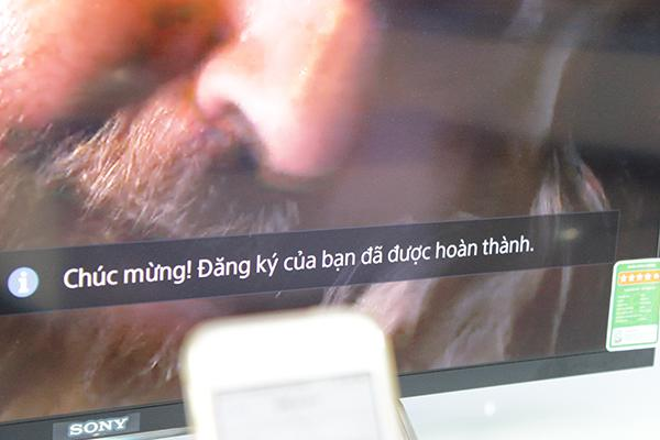 Màn hình tivi hiển thị nội dung thông báo về tình trạng kết nối