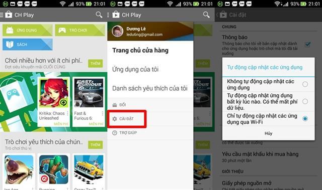 Tự động cập nhật ứng dụng, game khi có phiên bản mới trên Google Play Store: truy cập vào Google Play Store > Cài đặt (vuốt màn hình từ trái sang) > tick chọn tự động cập nhật ứng dụng (có 3 tùy chọn thiết lập)