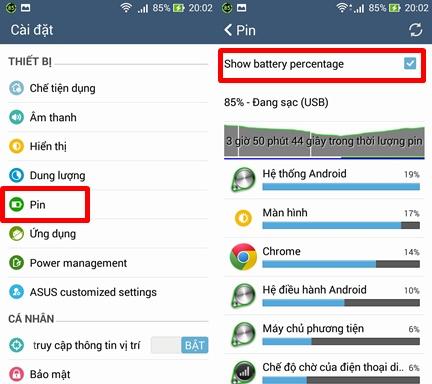 """Cách hiển thị phần trăm pin: vào Cài đặt hệ thống > Pin > tick chọn """"Show battery percentage"""""""