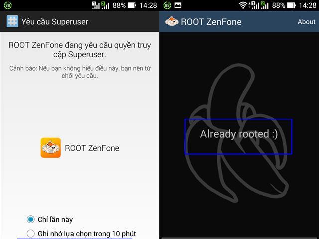 Mở ứng dụng Root lên xem thành công chưa, nếu hiển thị thông báo như hình minh họa phía trên là thành công. Dĩ nhiên, bạn vẫn có thể Unroot để nhận được bảo hành cho một số trường hợp