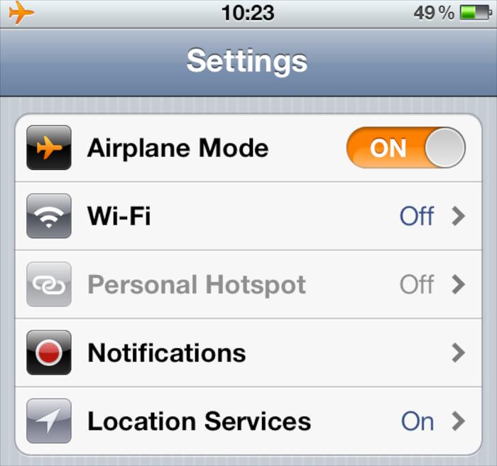 Chuyển sang Airplane Mode