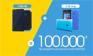 Sở hữu ngay 1 bao da và 2 ốp lưng Lumia 520/525 chỉ với 100k