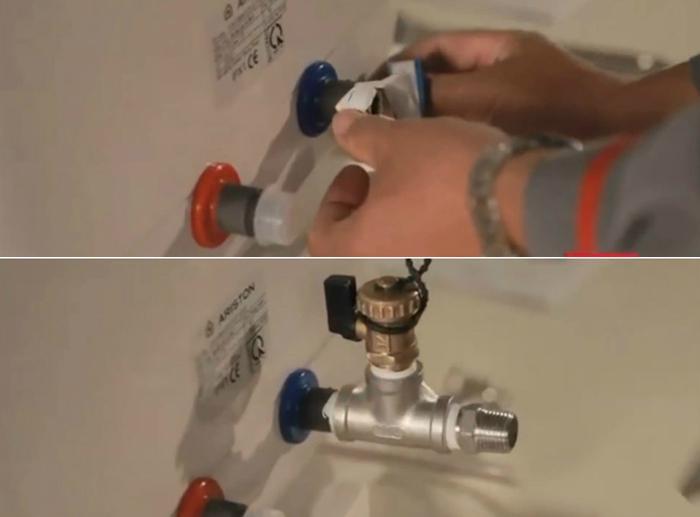 Dán băng keo ren rồi lắp van xả ở đường ống vào nếu muốn