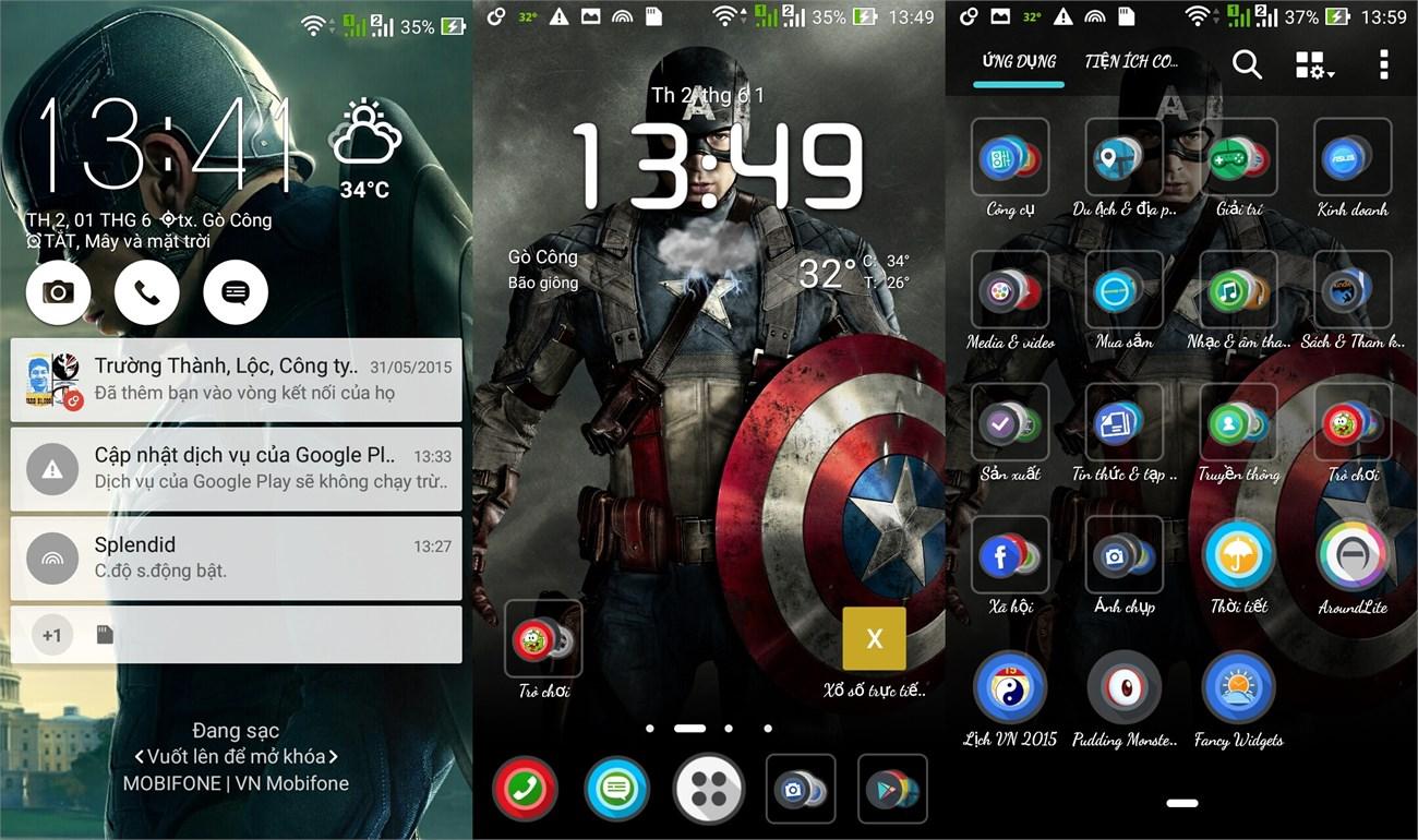 Giao diện màn hình khóa, Home và menu ứng dụng