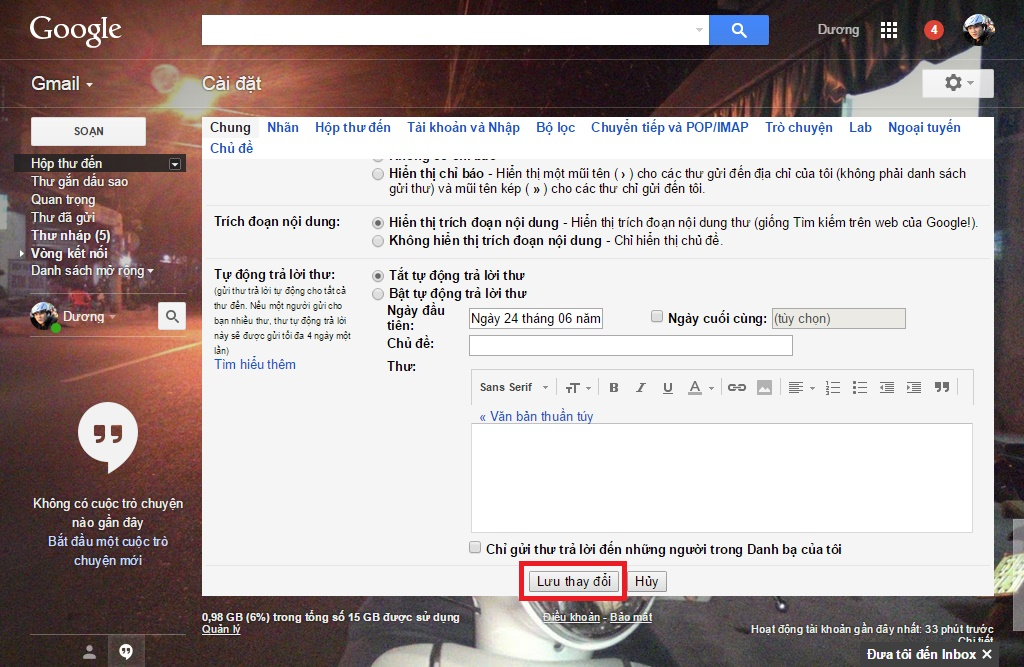 Lưu thay đổi cài đặt Gmail