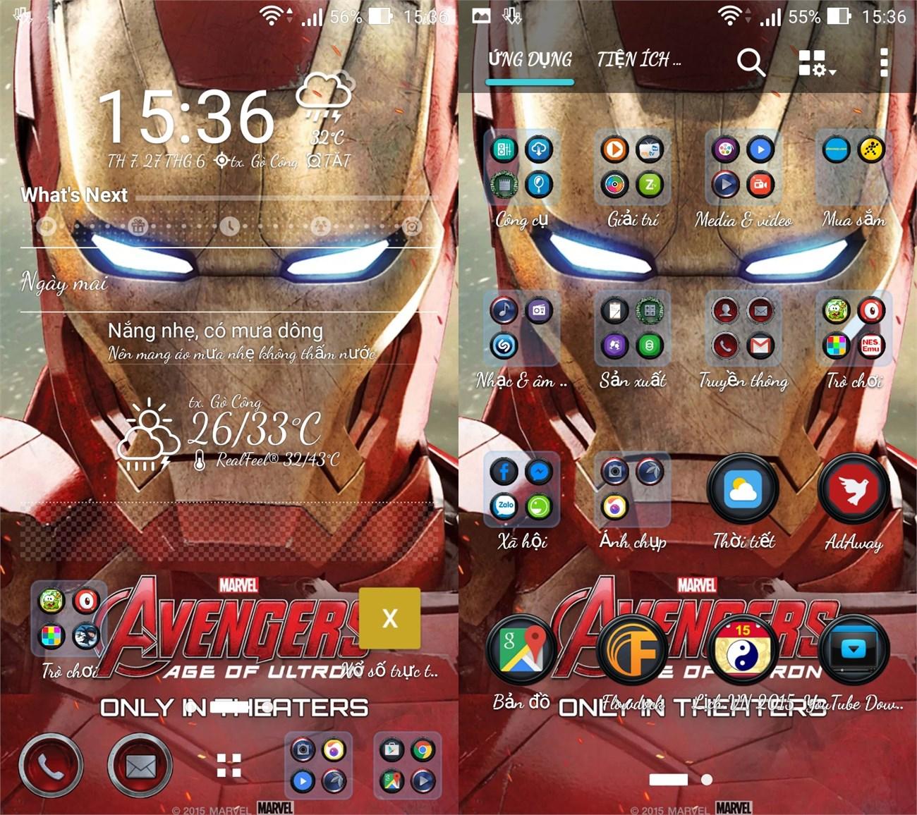 Ảnh chụp màn hình trên Asus Zenfone 6 sau khi áp dụng Theme Iron Man
