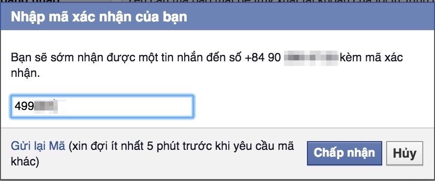 Xác nhận đăng ký tài khoản facebook qua số điện thoại
