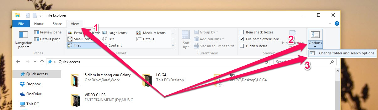 Chọn Change folder and search options