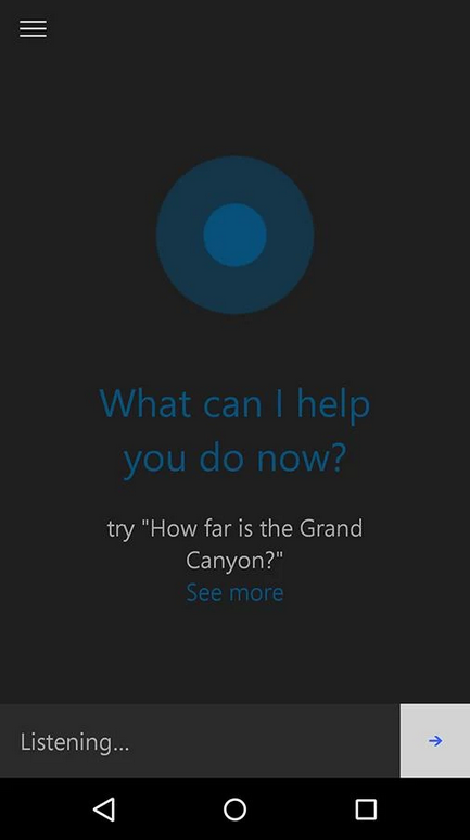 Hình ảnh của phiên bản Cortana beta trên Android