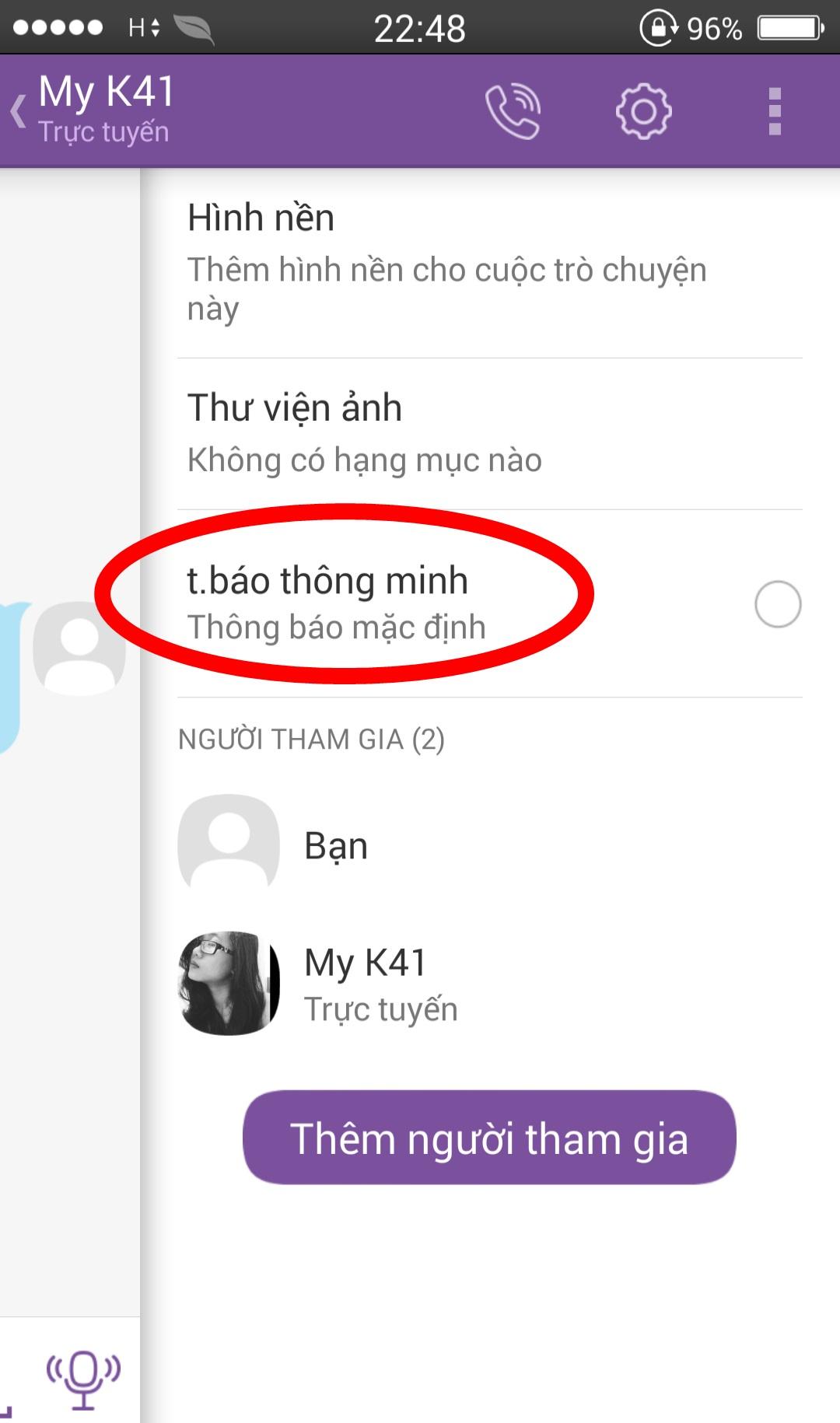 Gom nhóm thông báo trên Viber