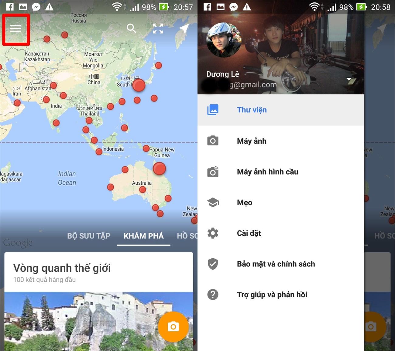 Giao diện chính của ứng dụng Google Street View trên Android