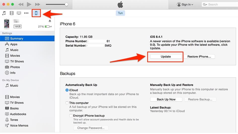 Cách khắc phục lỗi không cập nhật được iOS 9 bằng iTunes