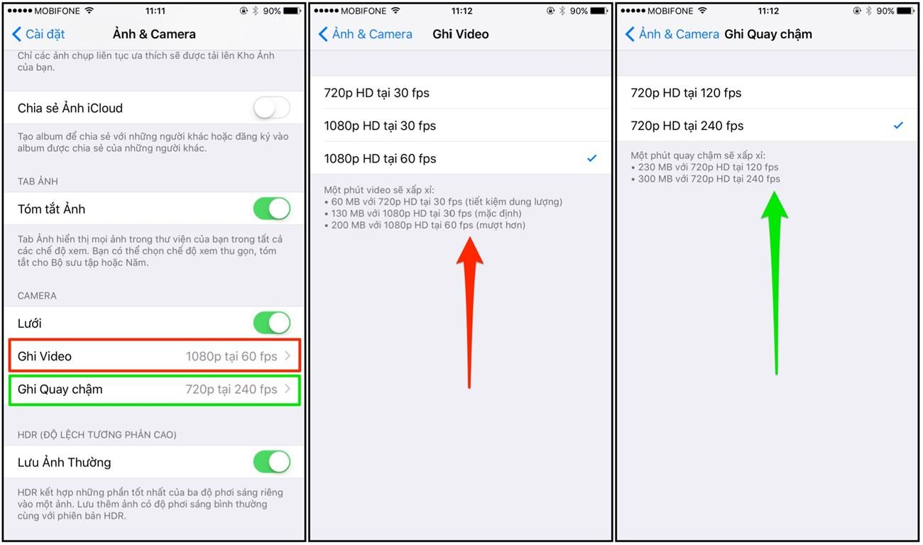 kiểm soát tùy chọn khung hình ghi cho Video & Slo-Mo