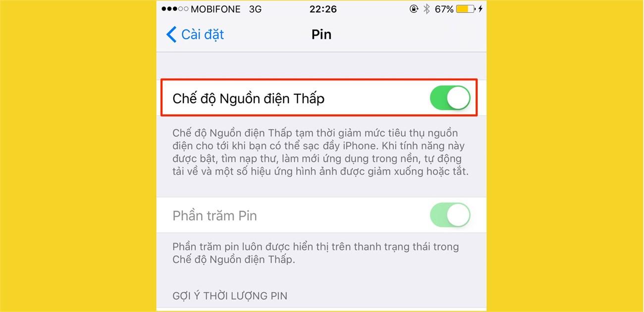 Kích hoạt chế độ tiết kiệm pin trên iOS 9