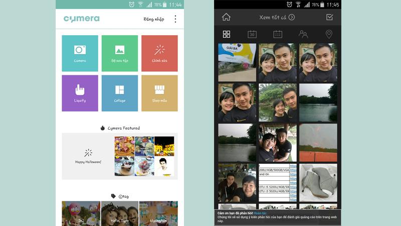 Từ giao diện chính bạn có thể chọn chụp hoặc chỉnh những ảnh đã được lưu trước đó