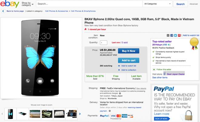 Bphone được bán trên eBay Nhật Bản