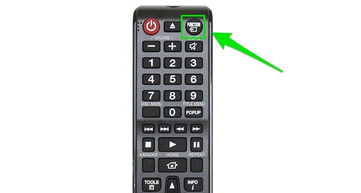 Nhấn nút FUNCTION trên remote