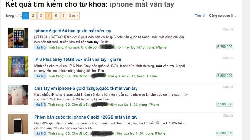 iphone mất vân tay