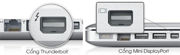 Cổng Thunderbolt và Mini DisplayPort trên MacBook