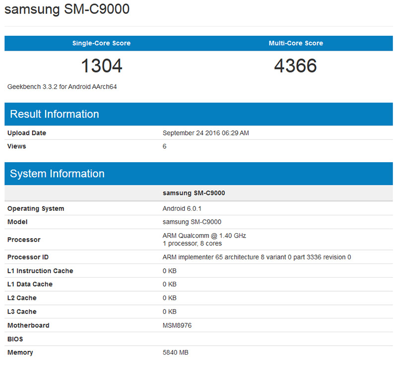 Galaxy C9 rò rỉ cấu hình với RAM 6 GB, chip Snapdragon 652