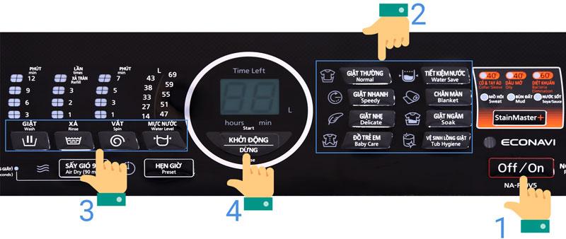 Các chế độ giặt Panasonic 9kg NA-F90V5LMX