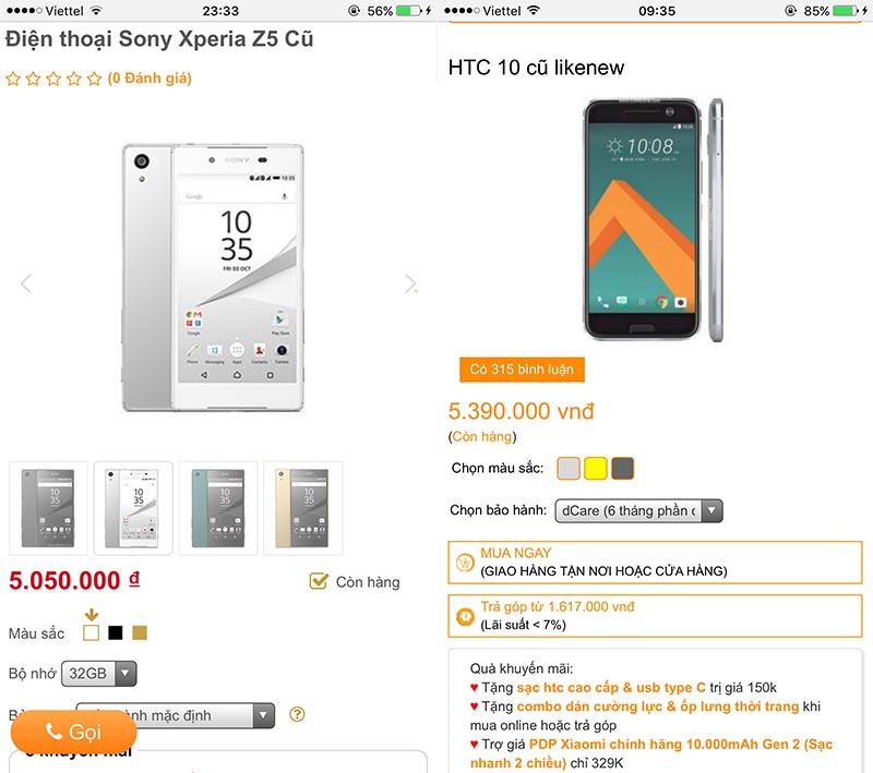 Sony Z5 VÀ HTC 10