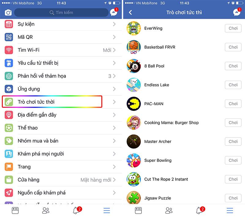 Facebook trò chơi