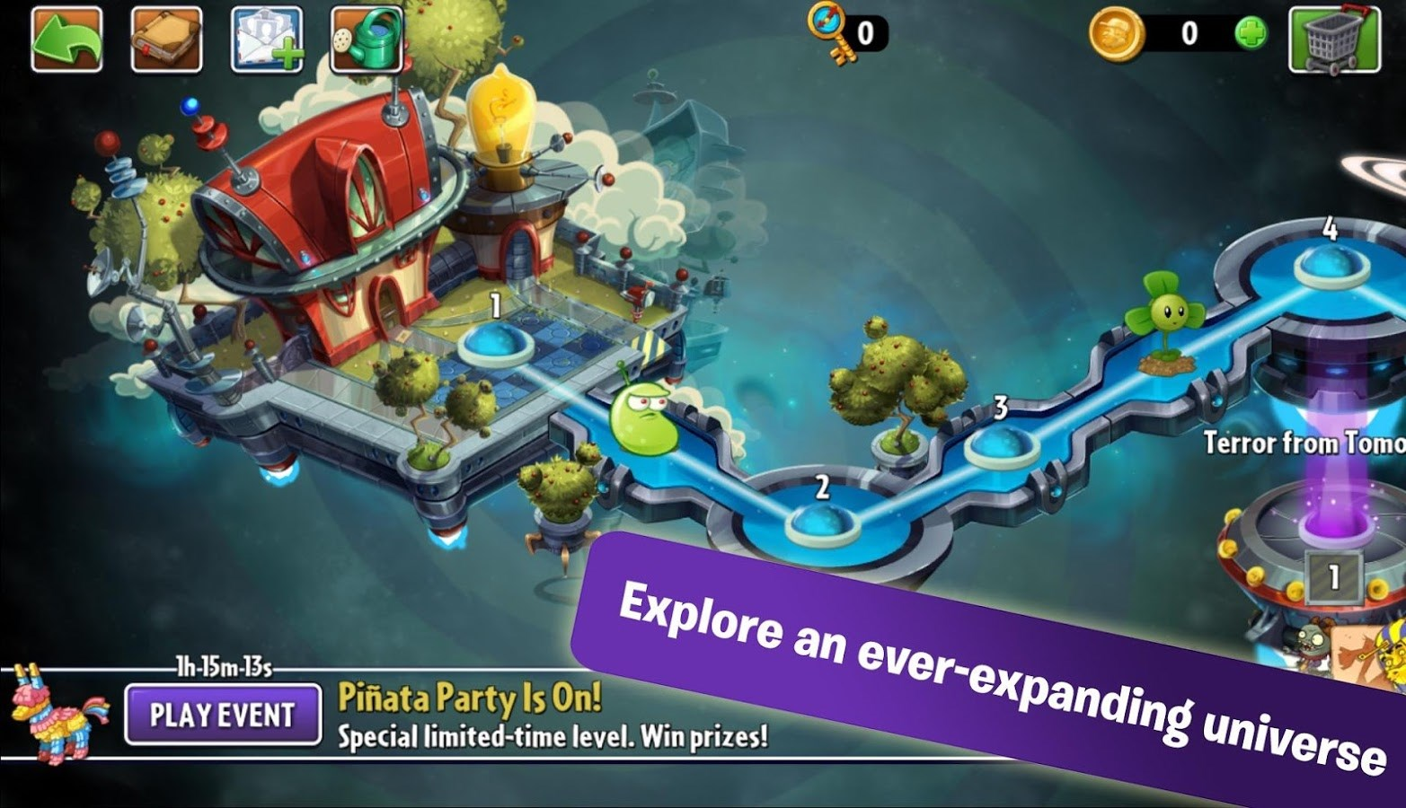 Trò chơi plant vs zombie 2 với số lượng màn chơi vô tận cung cấp trải nghiệm thú vị