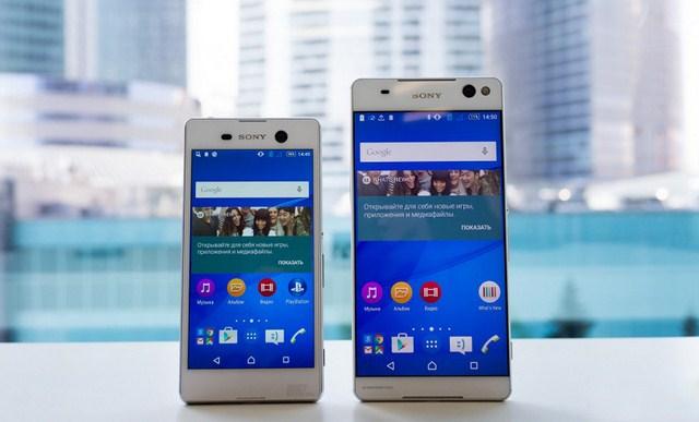 Giao diện bên trong máy đặc trưng theo phong cách Sony (Xperia M5 Dual bên trái)