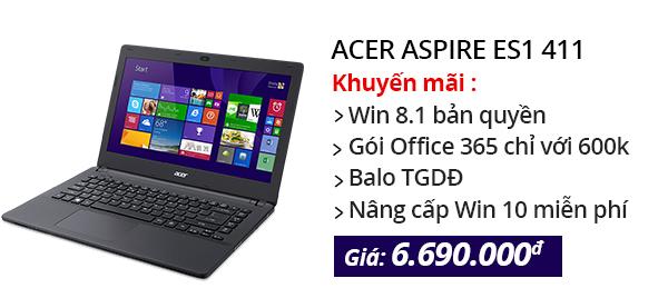 Laptop Acer Aspire ES1 411 N3540/2G/500G/Win8