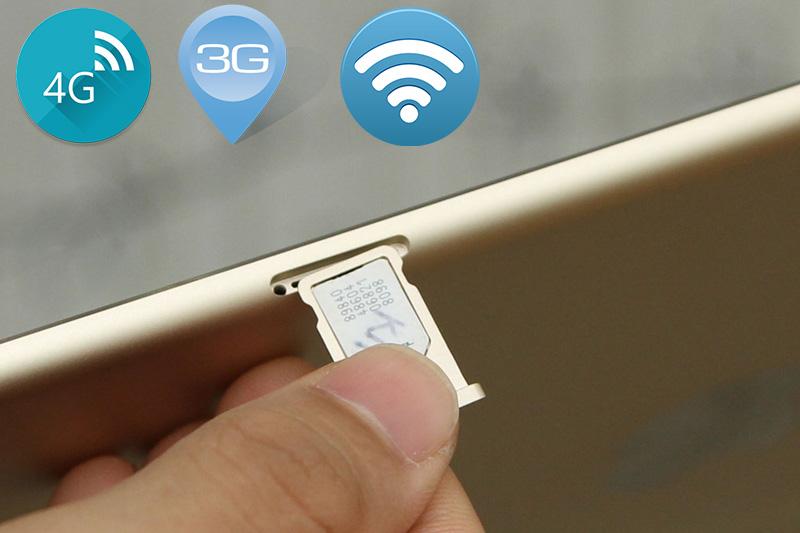 Với phiên bản Cellular bạn có 1 khe gắn sim để kết nối mạng 3G hay 4G chuẩn Cat 3 với tốc độ nhanh hơn