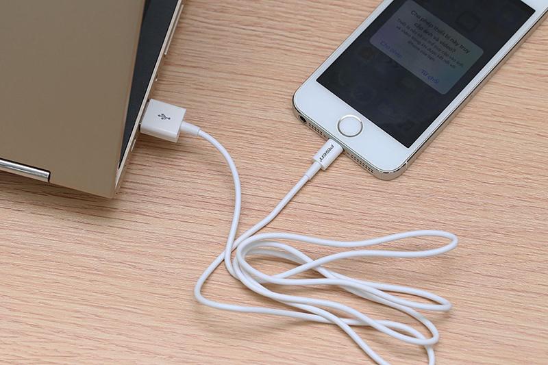 Cáp Lightning Pisen AL01-1000 Trắng - Kết nối thiết bị với laptop truyền tải dữ liệu dễ dàng