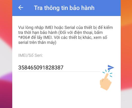 Bước 3: Nhập số IMEI của máy và gửi.