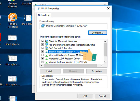 Nhấn đúp vào Internet Protocol Version 4 trong Ethernet Properties
