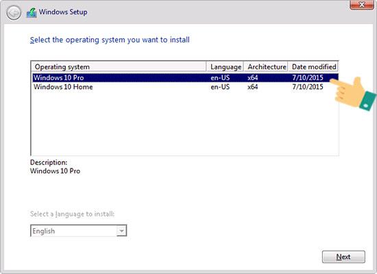 Chọn cài đặt hệ điều hành Windows 10 mà bạn muốn