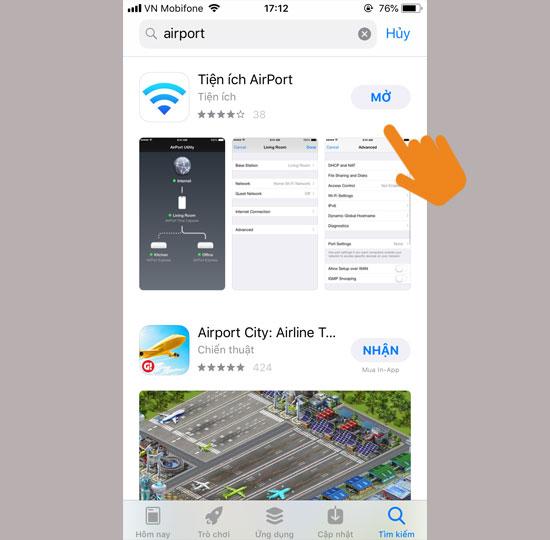 Tìm và tải về ứng dụng AirPort Utility
