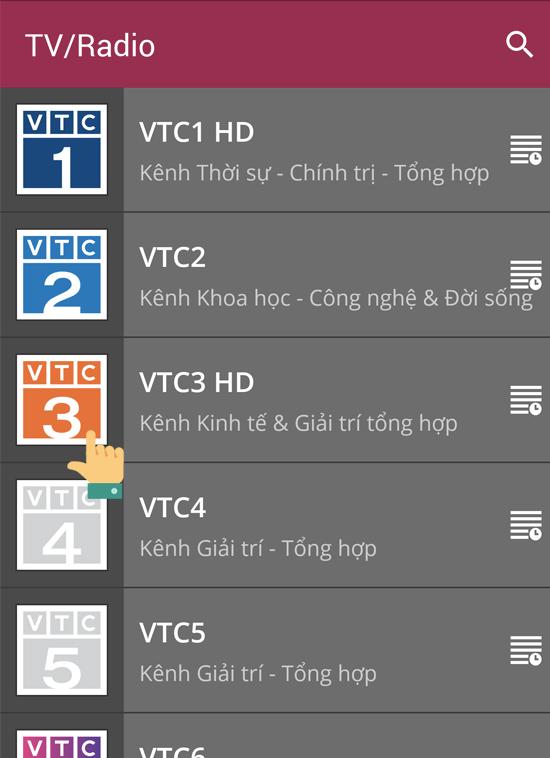 Chọn kênh VTC 3 HD