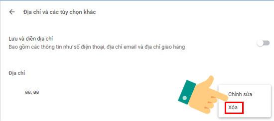 Xóa để loại bỏ địa chỉ khỏi trình duyệt Chrome