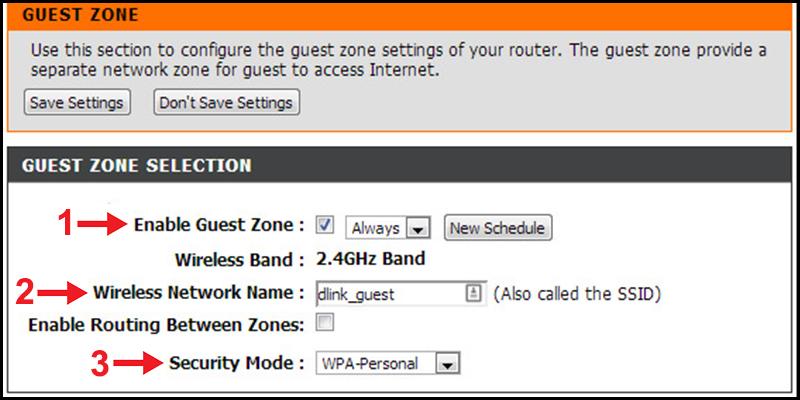 Điều chỉnh các tùy chọn cho mạng khách