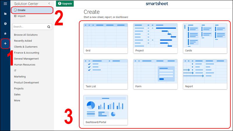 Bước 2: Chọn vào biểu tượng dấu cộng > Chọn Create > chọn vào các mẫu có sẵn bên phải.
