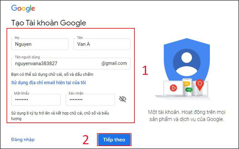 Tạo tài khoản Gmail trên máy tính (1)