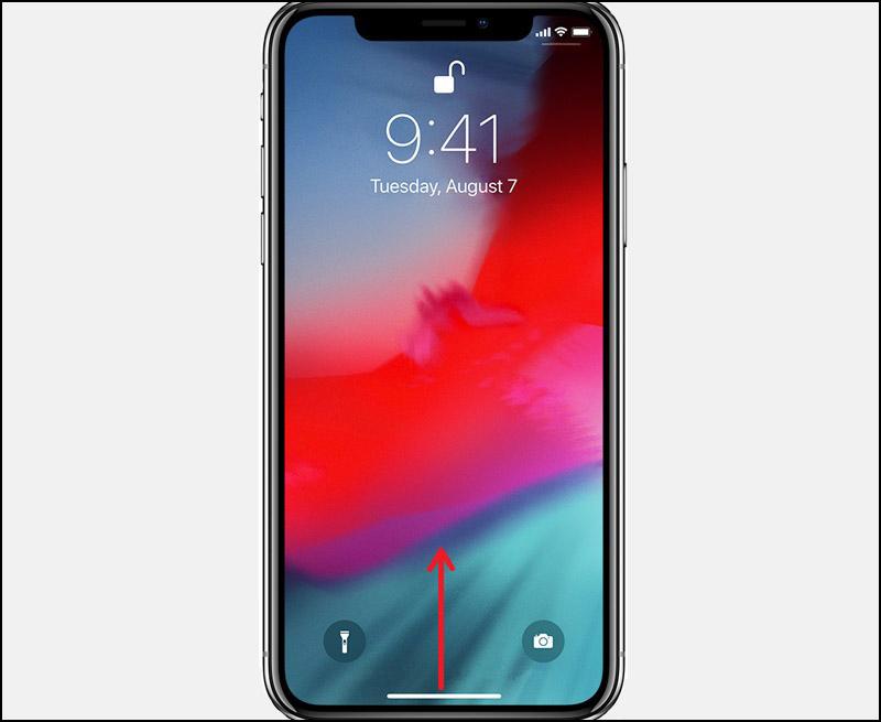 Đối với những dòng máy iPhone không còn phím Home. Thực hiện, vuốt từ dưới màn hình lên hướng giữa rồi thả tay ra.