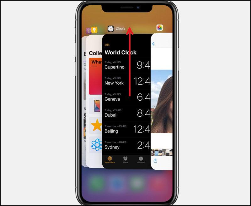 Vuốt màn hình lên để tắt các ứng dụng đang chạy ngầm.