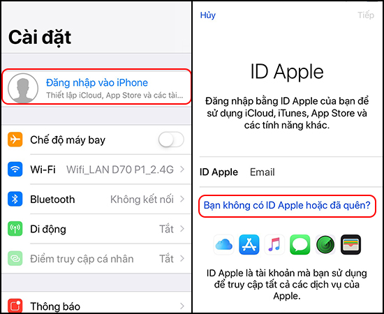 Chọn Đăng nhập vào iPhone -> Bạn không có ID Apple hoặc đã quên?