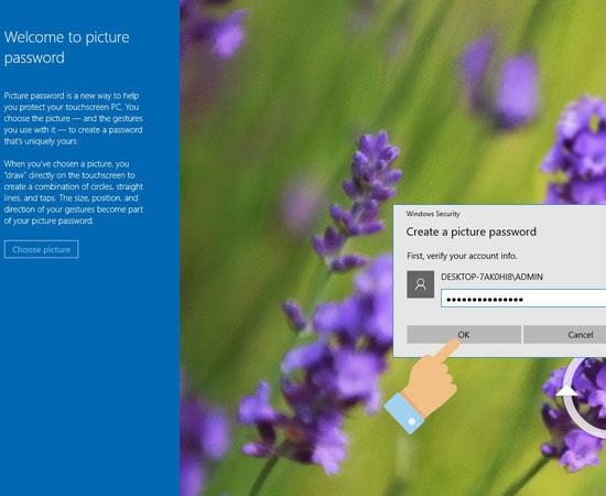 Nhập mật khẩu máy tính (nếu có).